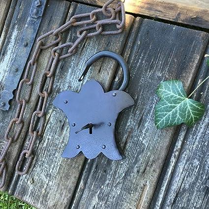 Antikas - candado estilo antiguo de color gris antracita- candados pequeños con llave para baúles