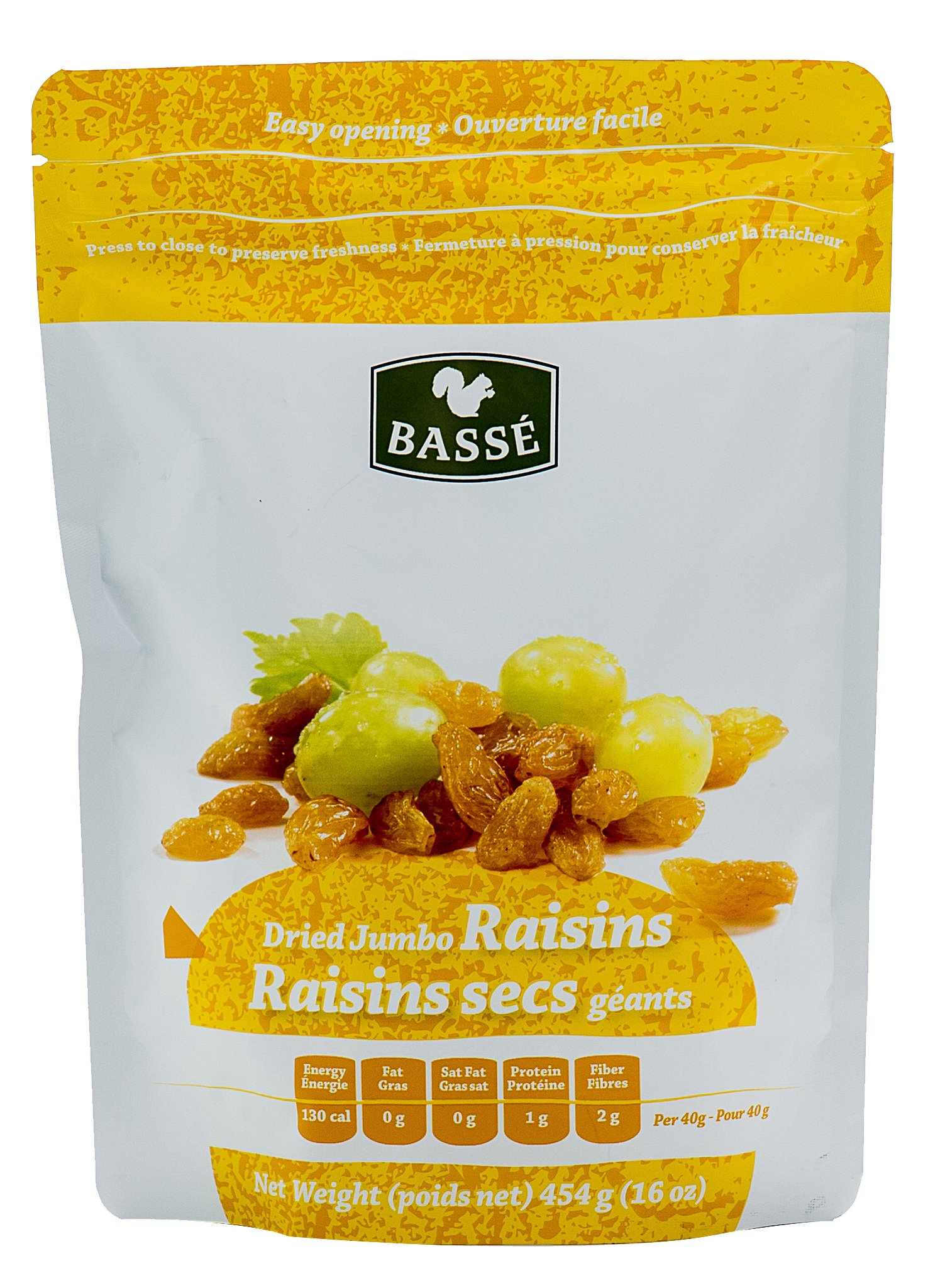 Golden Raisins, 1 Pound Bag of Dried Jumbo Golden Raisins from Basse Dried Fruits - 1lb Bag of Delicious, Healthy Raisins (1 Pound Bag) by Basse Nuts