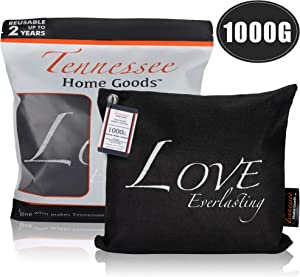 TENNESSEE HOME GOODS. Bamboo Charcoal Air Purifying Bags - Organic, Activated Odor Absorber, Safe for Kids - Decorative, Stylish Design - Home, Gym, Office Freshener Purifier- Love Everlasting - 1000g