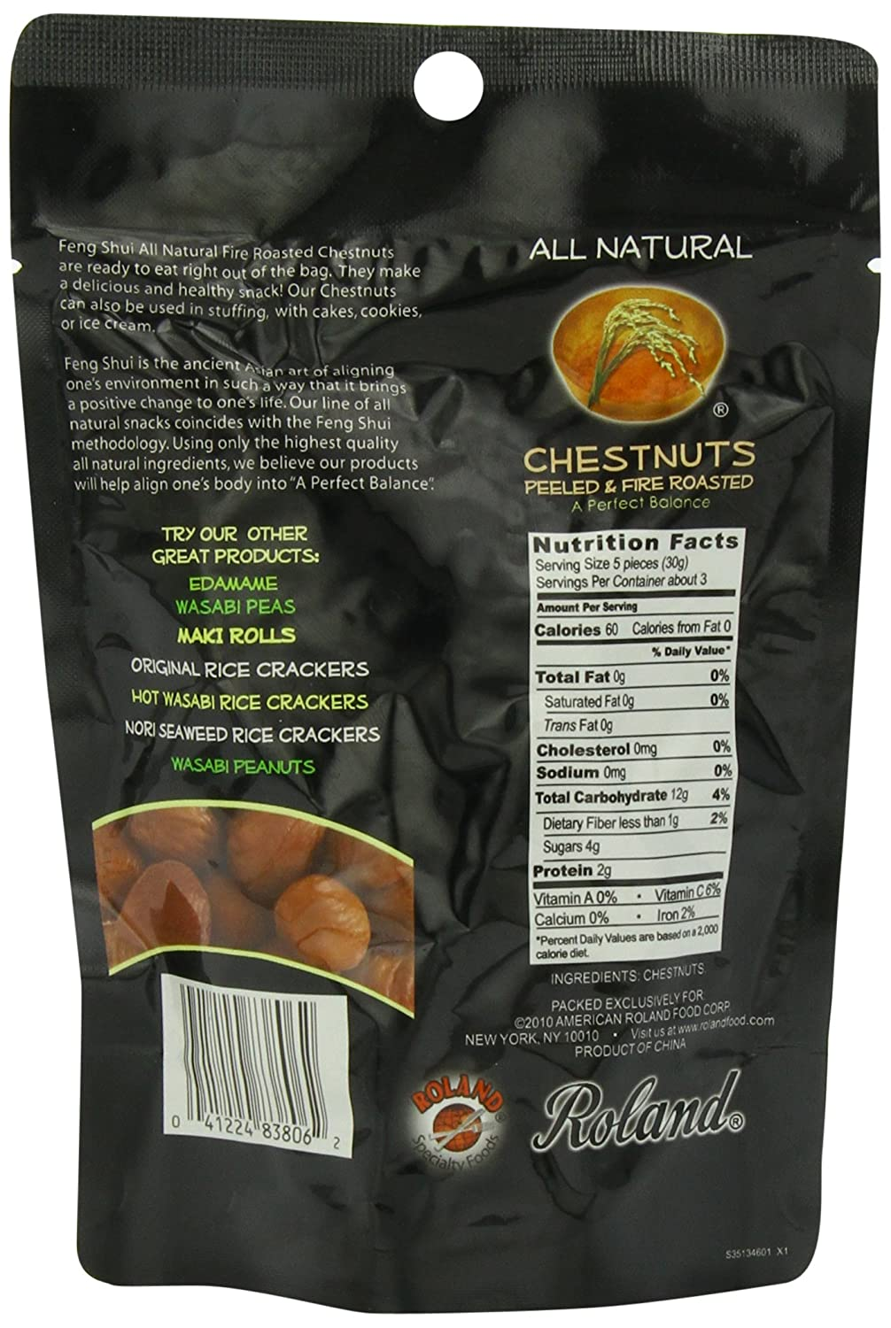 Amazon.com : Feng Shui Chestnuts, Fire Roasted, 3.5 Ounce : Edible ...