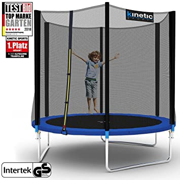 Kinetic Sports Outdoor Gartentrampolin Komplettset inklusive Sprungtuch aus USA PP-Mesh +Sicherheitsnetz +Randabdeckung, bis