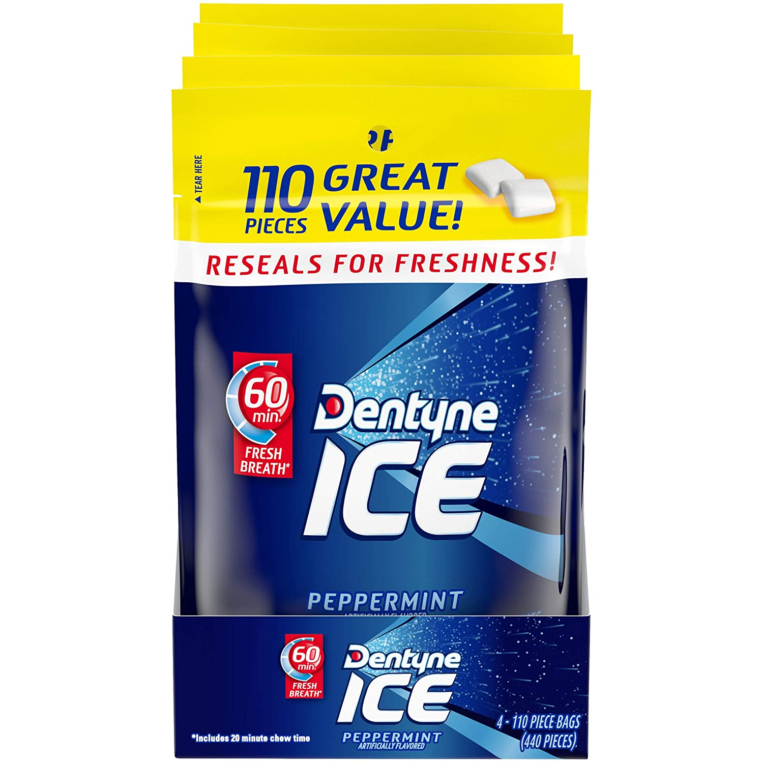 Dentyne Ice Peppermint Sugar Free Gum, 4 Bags of 110 Pieces (440 Total Pieces)