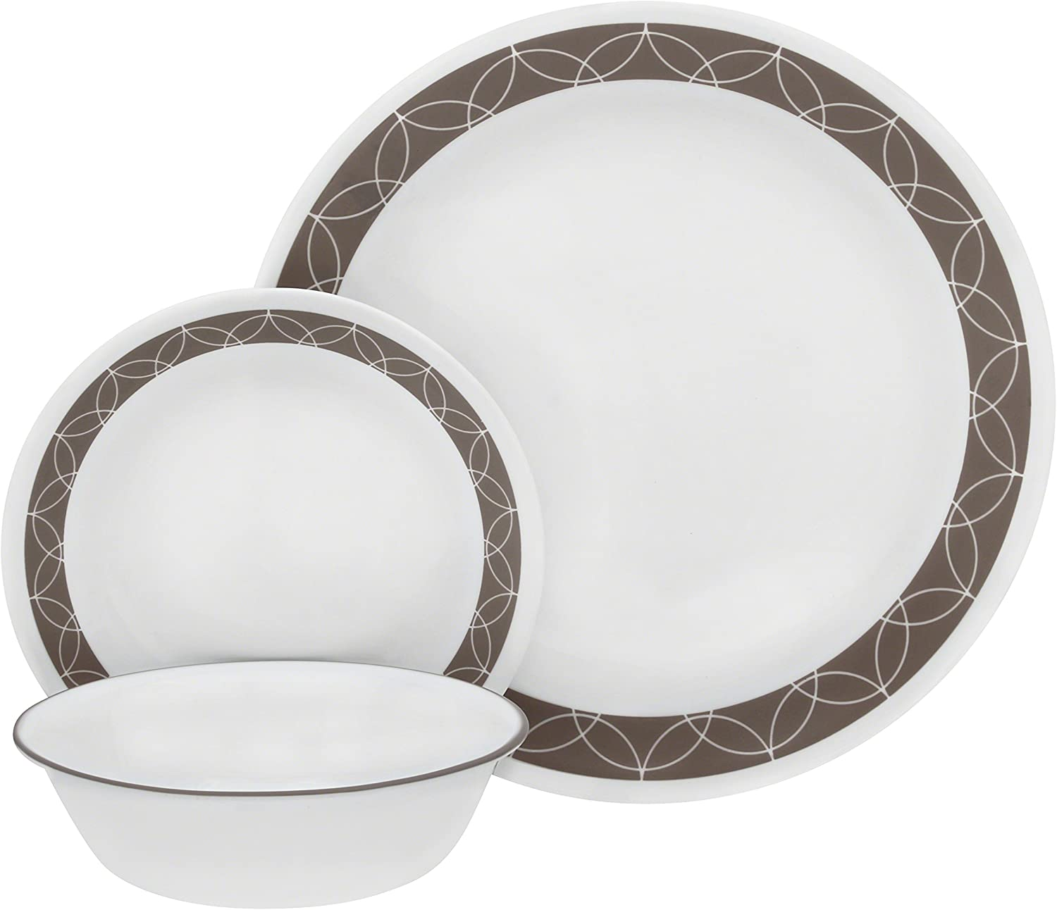 Corelle 1124368 Service for 6, Chip Resistant, Sand Sketch dinner plates, 18-piece