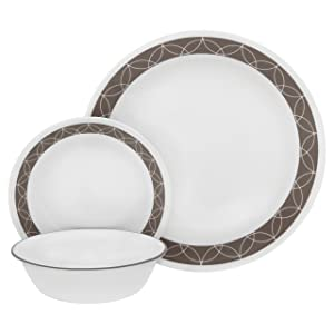 Corelle 18-Piece Service for 6, Chip Resistant, Sand Sketch Dinnerware Set,
