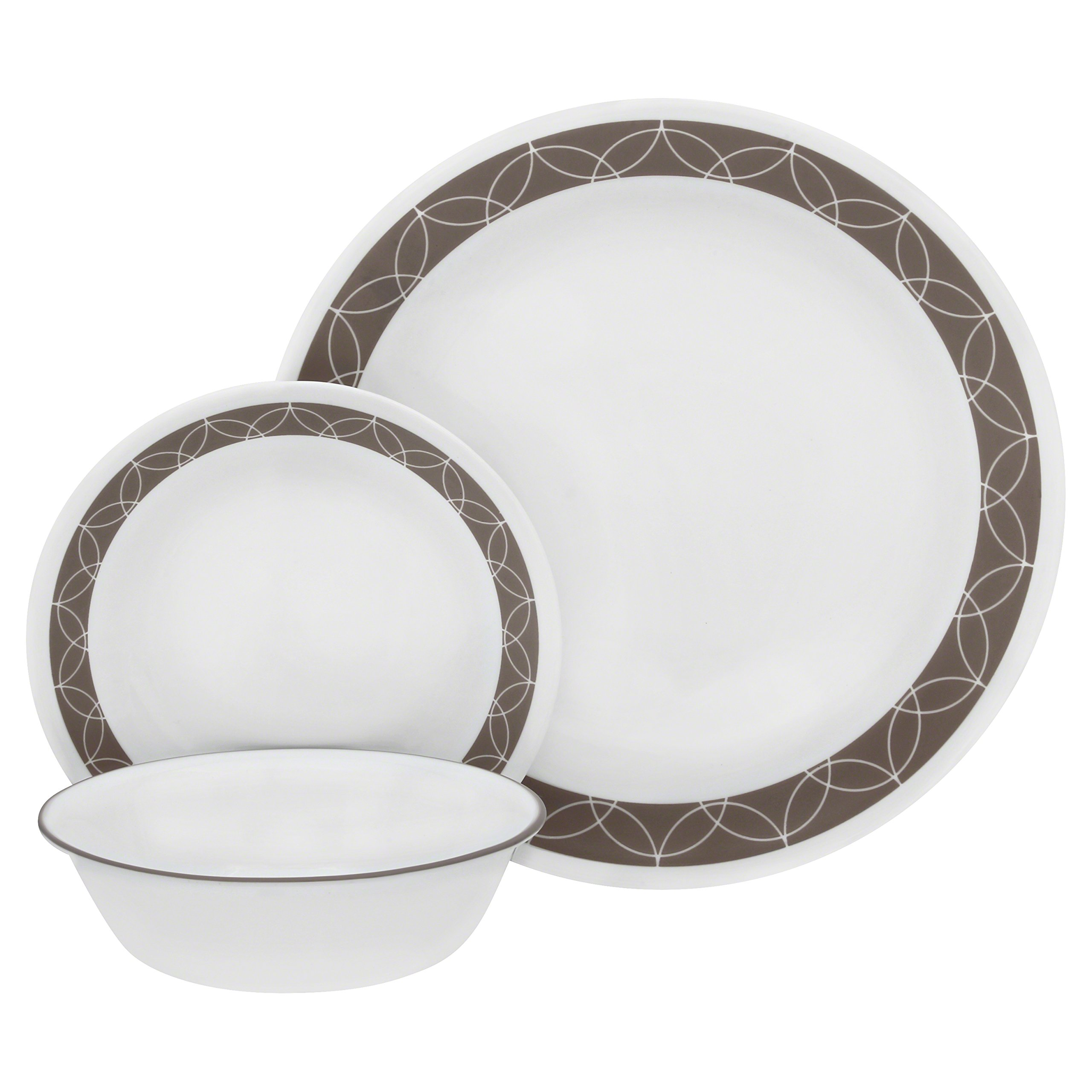 Corelle Service for 6, Chip Resistant, Sand Sketch dinner plates, 18-piece