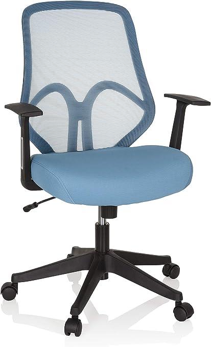 hjh OFFICE 750002 Chaise de Bureau, siège pivotant AMIKO Bleu ClairNoir avec accoudoirs