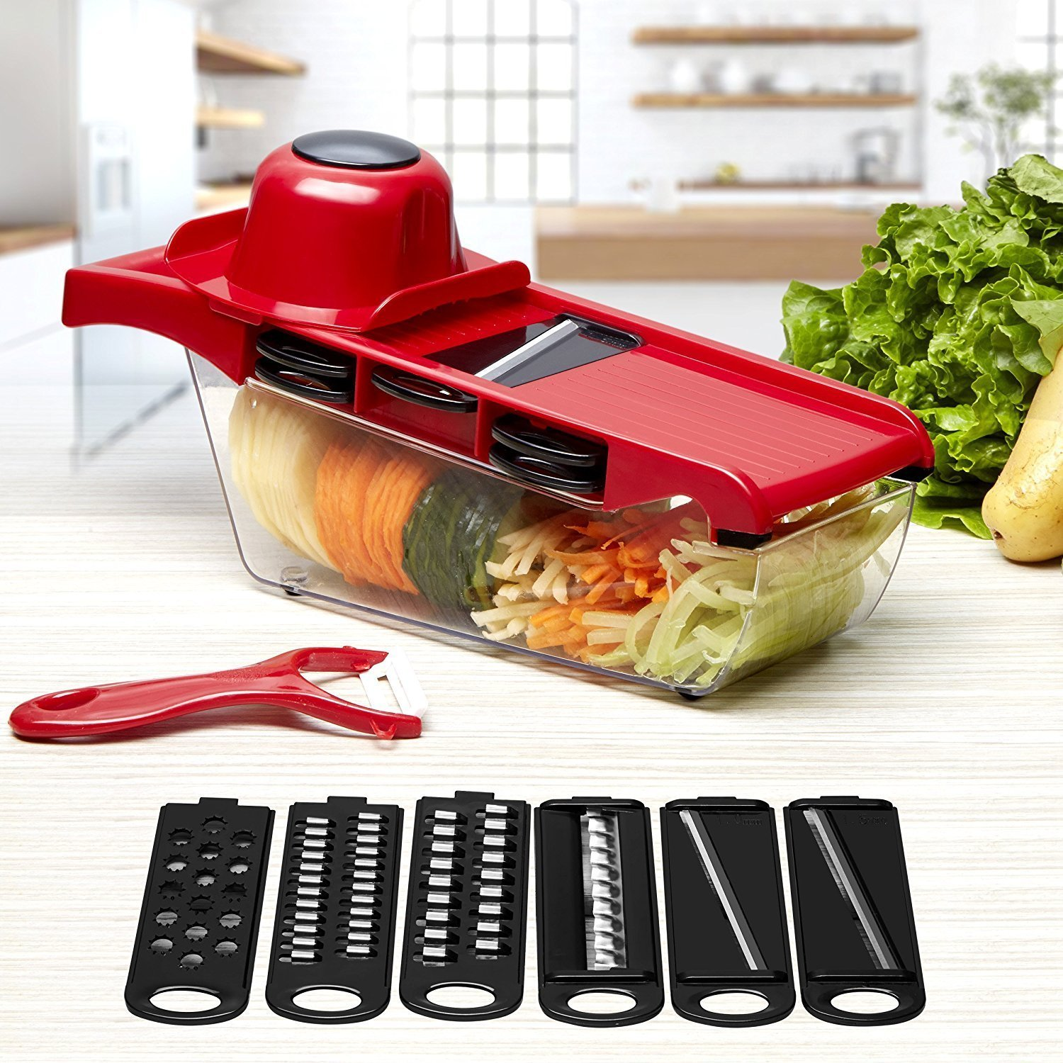 Mandoline Slicer Adjustable Vegetable Fiveaccy Cutter Chopper with 6 Interchangeable Stainless Steel Blades with Ceramic Peeler for Potato, Tomato, Onion, Cucumber, Cheese