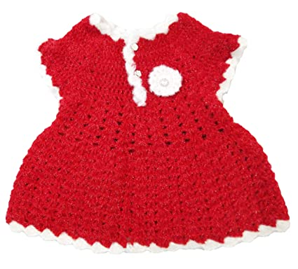 70d56e8ad6f5 Baby Girls Girl Frock Dress | Skirt | Baby Set | Designer | Hand knitted |  Crochet woolen | White and Pink Colour | 12-24 Months: Amazon.in: Clothing  & ...