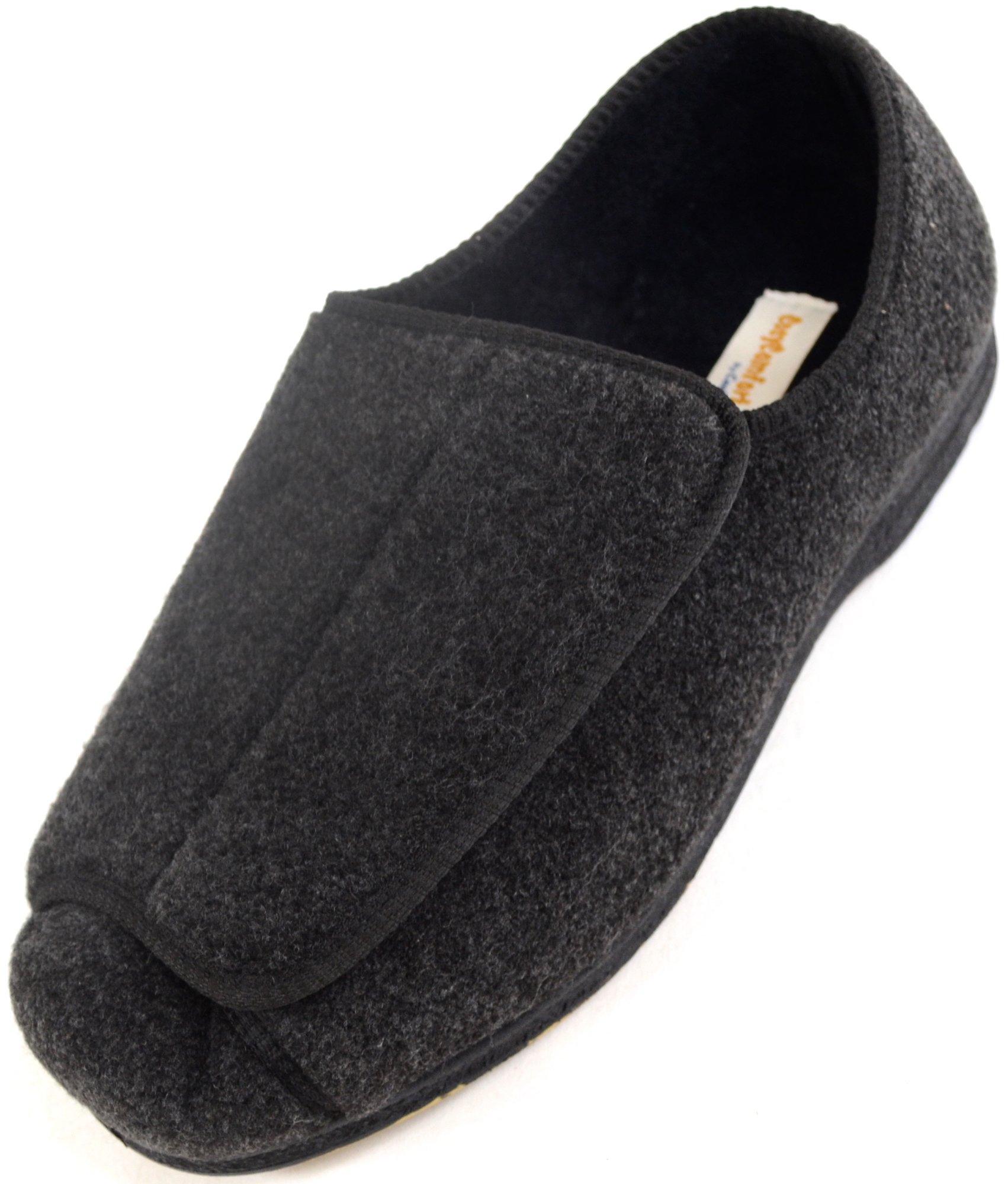 SNUGRUGS Mens Orthopaedic/EEE Wide Fit Adjustable Slipper Boot/Slippers - Grey - 8 US