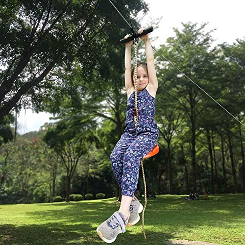 CTSC 95 Foot Zip Line Kit for Kids and Adult with Stainless Steel Spring Brake and Seat, Ziplin for Backyard Entertainment Equipment, Perfect Backyard Toy, A Surprise Gift for Children