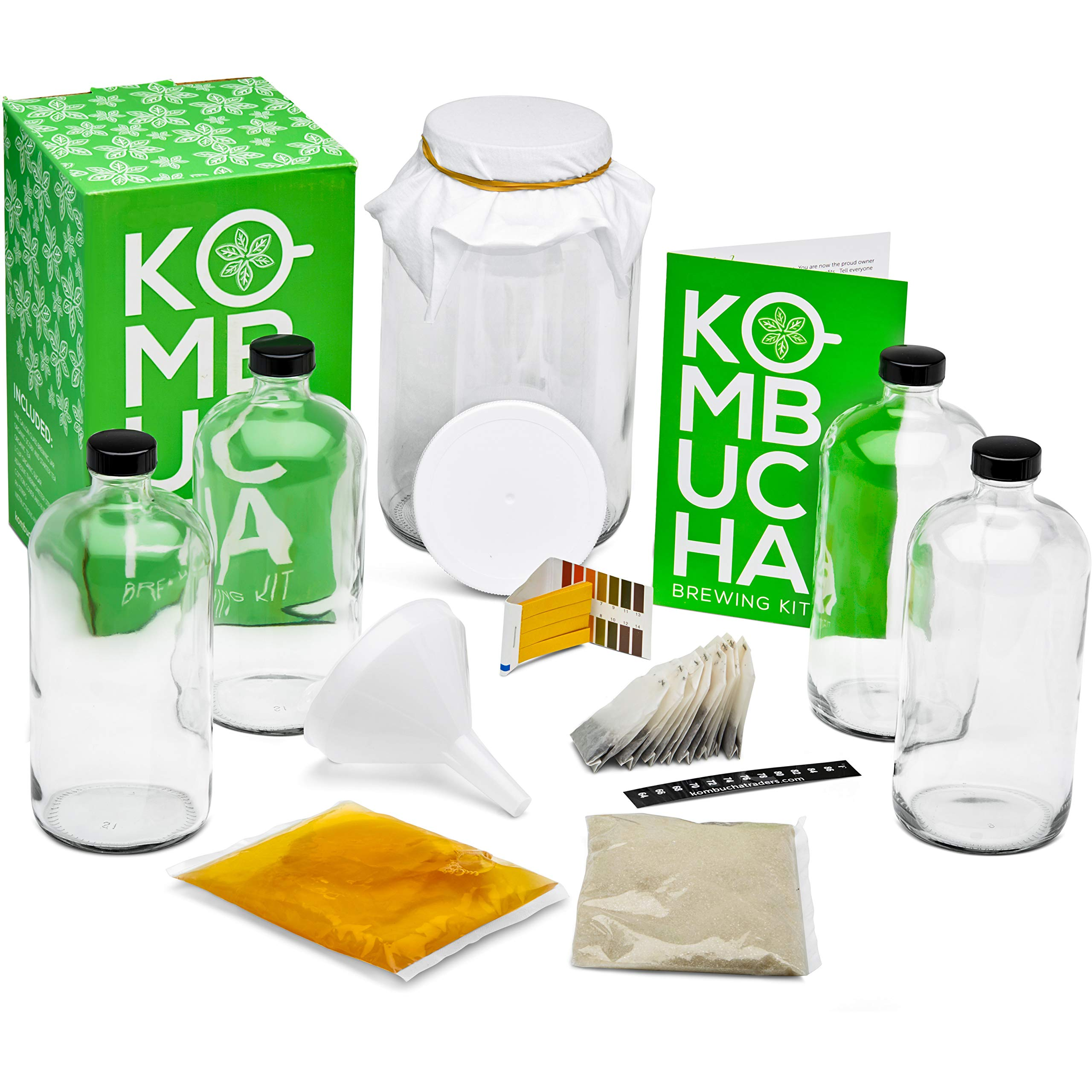Kitchentoolz Two Phase Kombucha Starter Kit - Kombucha Jar, Kombucha Bottles, Scoby and Basic Ingredients for a Full Kombucha Fermenting and Bottling Experience (Clear Bottles Kit, Glass)