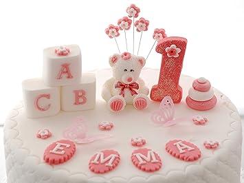 Personalised Edible Teddy Bear Pink Birthday Set Handmade Sugarpaste Cake Topper DecorationPLEASE SEND YOUR