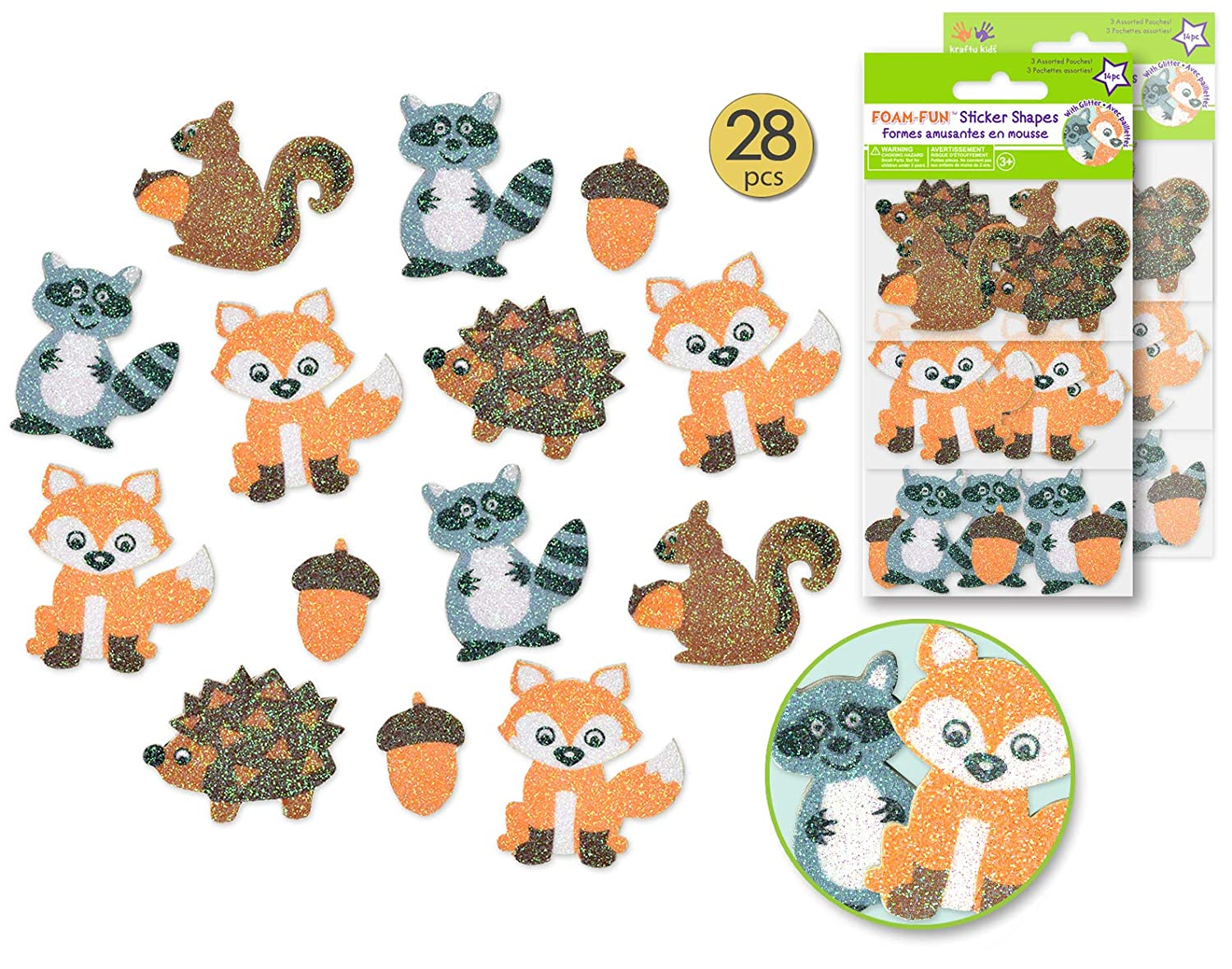 28 Pcs Woodland Animal Stickers Glitter Stickers Forest Stickers Woodland Animals Baby Shower Woodland Baby Shower Decorations Woodland Party Supplies Woodland Creatures Baby Shower 2 Packs
