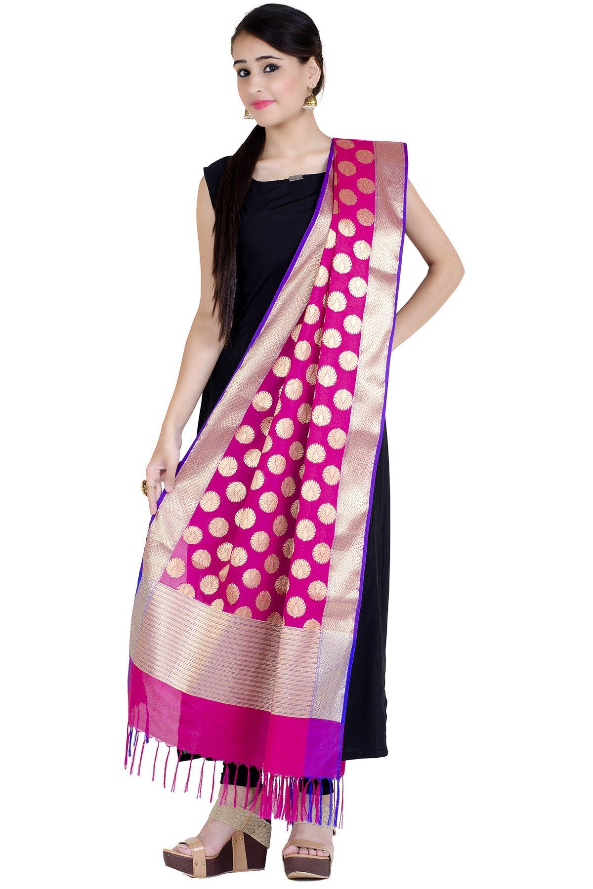 Chandrakala Women's Kataan Silk Blend Cutwork Brocade Banarasi Dupatta (Magenta) by Chandrakala (Image #2)