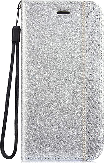 IKASEFU Shiny Rhinestone Diamond Sparkly Bling Glitter Luxury Wallet with Card Holder Flash Pu Leather Magnetic Flip Case Protective bumper Cover Case Compatible with iPhone 7//8,gold
