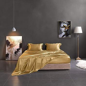 Thxsilk Silk Sheet Set 4 Pcs 19 Momme Silk Bed Sheets Luxury Bedding Sets Ultra Soft Durable 100 Top Grade Mulberry Silk King Size Metallic