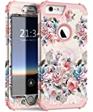 """Hocase iPhone 6s Plus Case, Drop Protection Shock Absorbing Silicone Bumper+Hard Shell Hybrid Dual Layer Full-Body Protective Case for iPhone 6 Plus/iPhone 6s Plus 5.5"""" - Peony Flower/Rose Gold"""