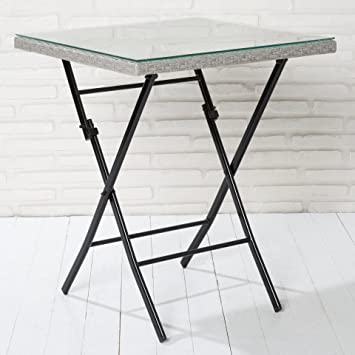 Table pliante table de jardin poly rotin gris clair avec ...