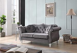 Glory Furniture Hollywood Loveseat Love Seats, Dark Gray