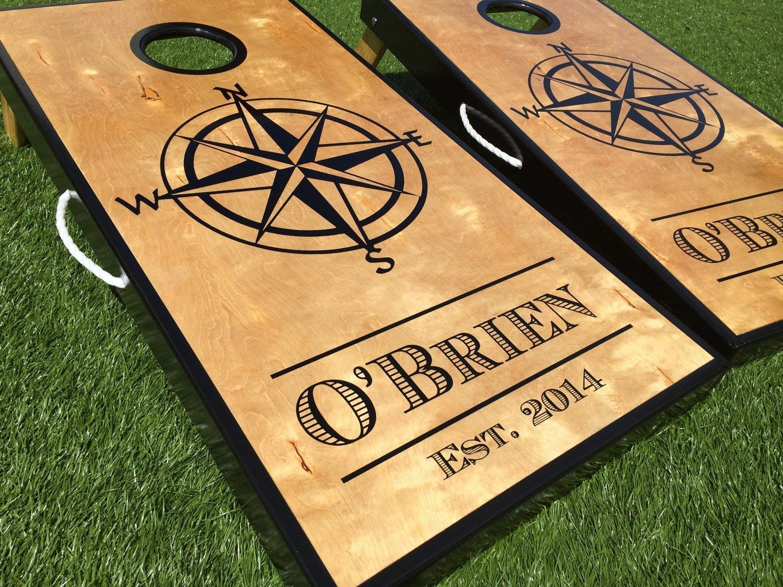 Nautical Compass Custom Cornhole Board Set