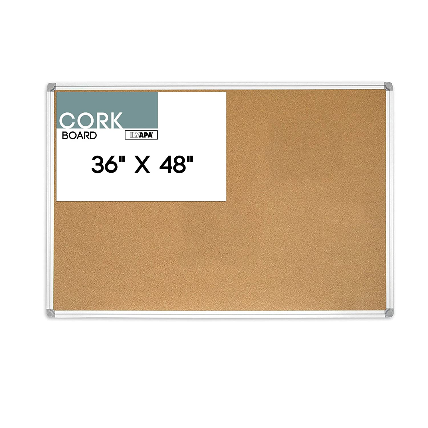 36 x 48 Inch Cork Board – Aluminum Framed Large Corkboard Bulletin Board for Home, Office or Dorm Ilyapa