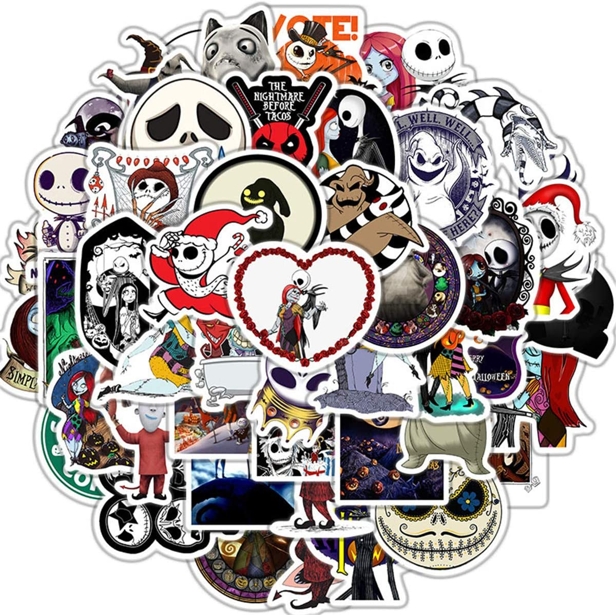 The Nightmare Before Christmas Thriller Horror Style Toy Stickers (50 PCS) Funny Tim Burton's Stickers for Teens, Girls, Kids - Halloween Theme Stickers for Waterbottles,Laptop,Phone (Halloween)