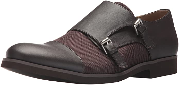 Amazon.com | Calvin Klein Mens Finch Nappa Calf Lthr/Ballistic NYL Monk-Strap Loafer | Loafers & Slip-Ons