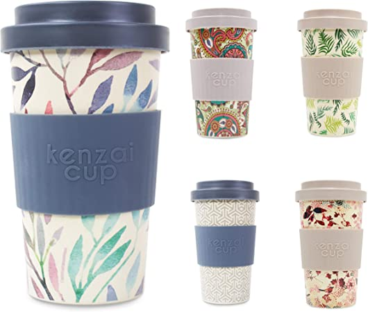 Yum Asia Kenzai Cup 14oz (400ml) Reusable Screw Lock Lid Bamboo Coffee Cup (Big Leaf)
