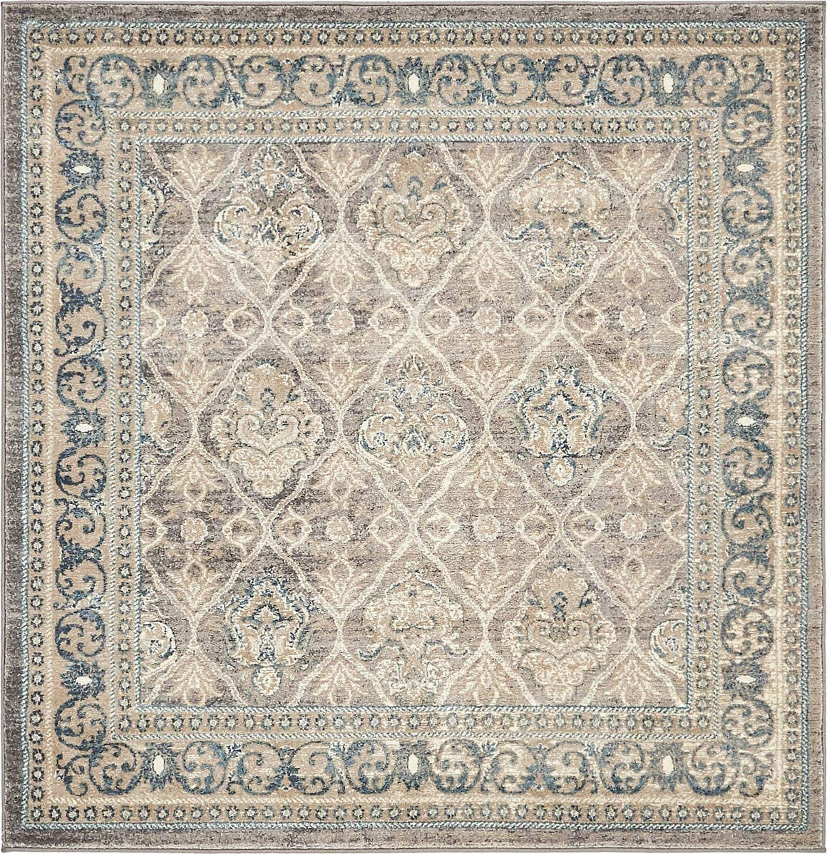 Unique Loom Salzburg Collection Traditional Oriental Gray Square Rug 5 0 x 5 0