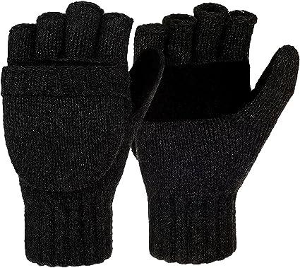 MENS HEAVY DUTY FINGERLESS GLOVES Mens S-XL black suede thinsulate winter gloves