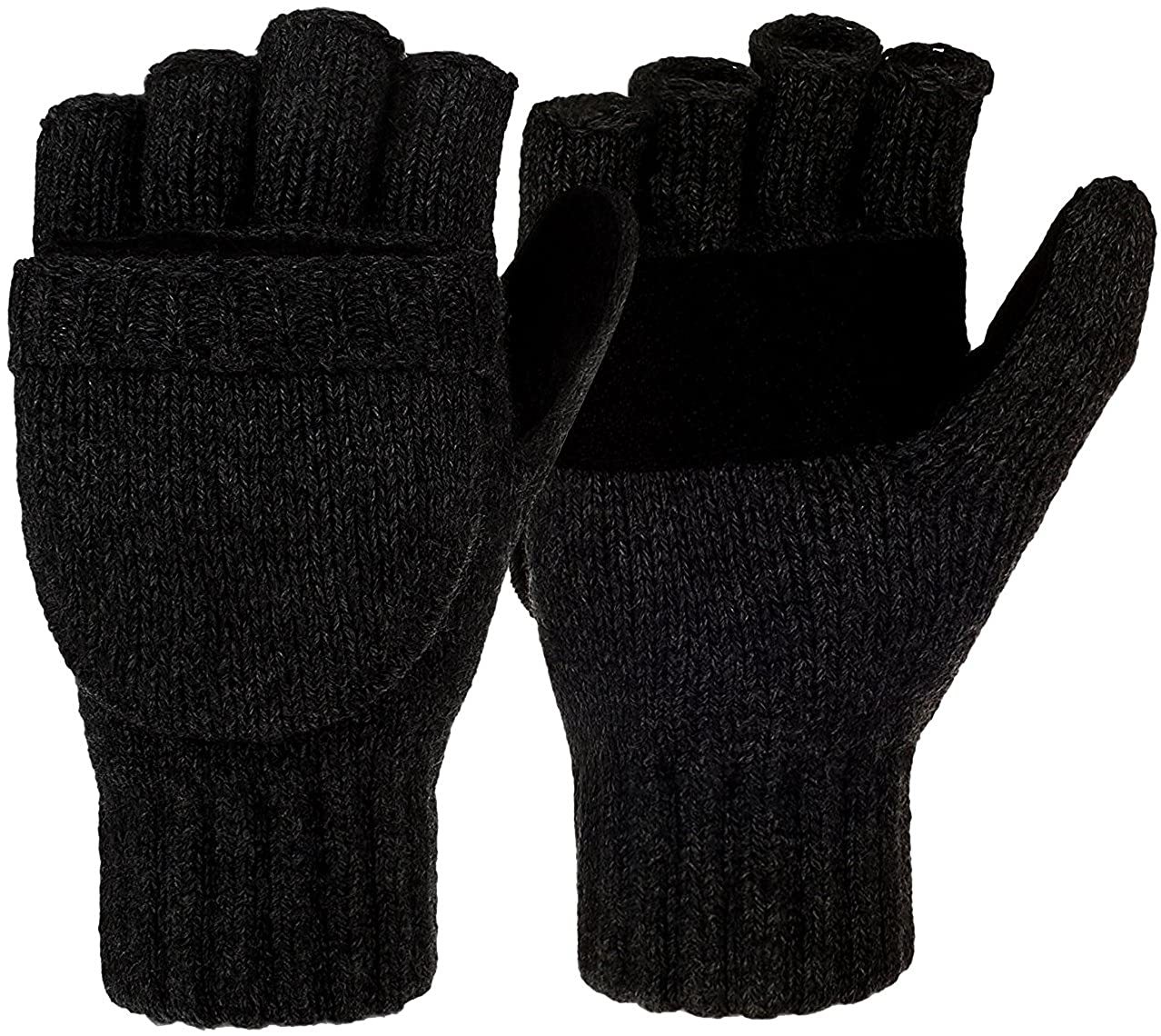 Korlon Winter Warm Wool Knitted Convertible Gloves Mittens with Mitten Cover Black CLN-007-1