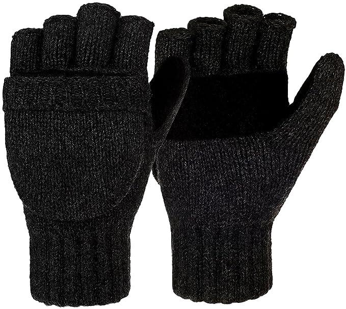 Korlon Winter Wool Knitted Convertible Fingerless Gloves with Mitten ...
