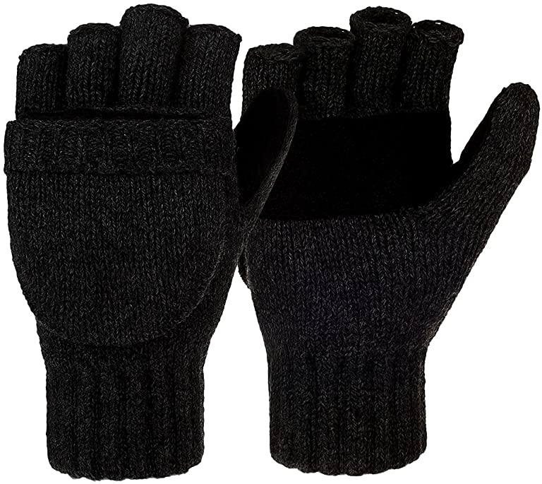 Korlon Winter Warm Wool Knitted Convertible Gloves Mittens with Mitten Cover