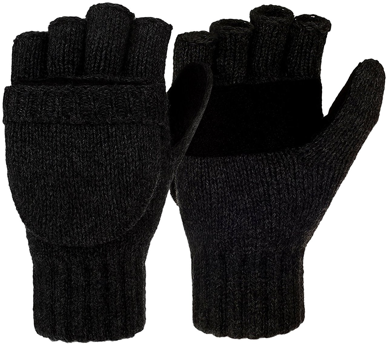 Korlon Winter Warm Wool Knitted Convertible Gloves Mittens with Mitten Cover, Black