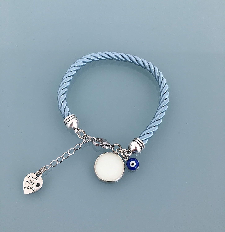 bijoux cadeaux cadeau ado fille bracelet bijoux porte bonheur bracelets bijou Bracelet phosphorescent bleu avec pendentif oeil grec