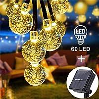 Luces Exterior Solar Cadena de Bola Cristal Luz 11m 60LED, Sendowtek Luces Decorativas Solar de Interior y Exterior para…