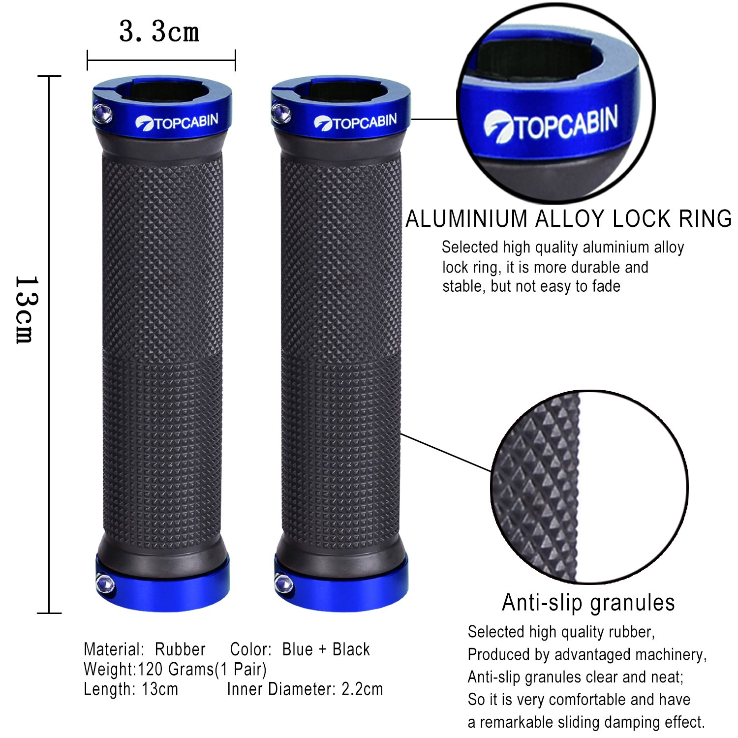 Topcabin Double Lock On Locking Bicycle Handlebar Grips Cycle Grip High Quality Mountain Bike Bmx Floding A Pair Blue Gold Red Top520006277133
