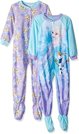 Amazon.com  Disney Girls  Toddler Frozen Elsa 2-Pack Fleece Footed Blanket  Sleeper  Clothing 4d178fa7e