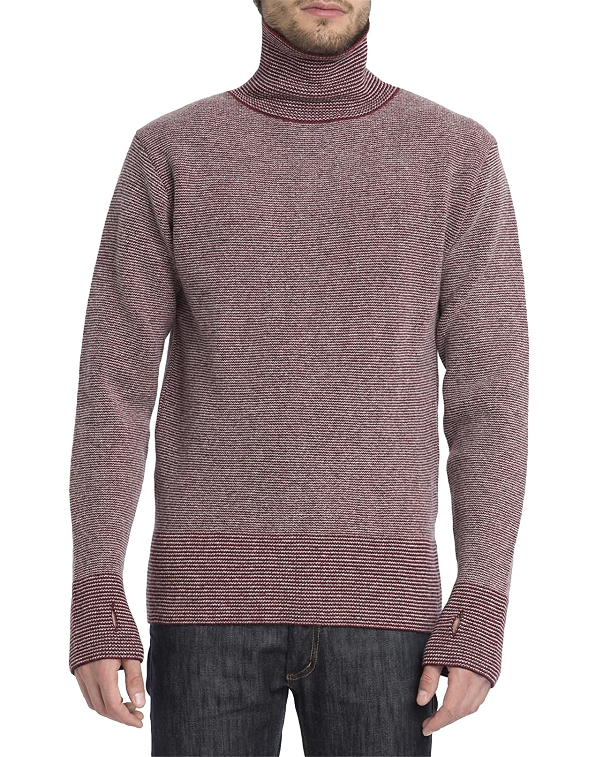 OLIVER SPENCER - Rollneck Sweaters - Men - Red Ripped Stitch Crew Fine Stripe High Collar Sweater for men - M