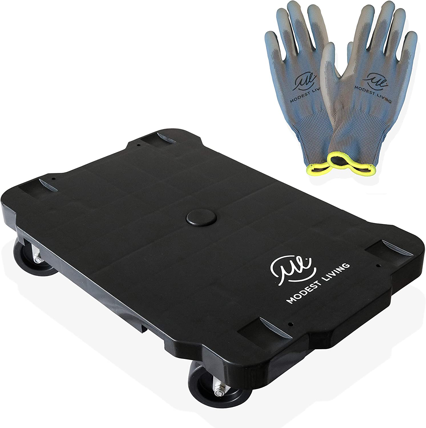 Movers Dolly Furniture Moving Trolley Interlocking with 4 Heavy Duty Swivelling Rubber Caster Wheels (16.5 x 11.2 x 4 inches) - Complete with Multipurpose Large Gardening Gloves