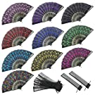 INNOLIFE Elegant Colorful Embroidered Flower Peacock Pattern Sequin Fabric Folding Handheld Hand Fan Hand-Crafted (Full Set - 10pcs Mixed Colors) and 8 Carrying Pouches