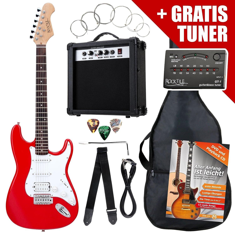 Rocktile ST PowerPack guitarra eléctr Set rojo incl. ampl, bolsa, afinador, cable, correa, cuerdas: Amazon.es: Instrumentos musicales