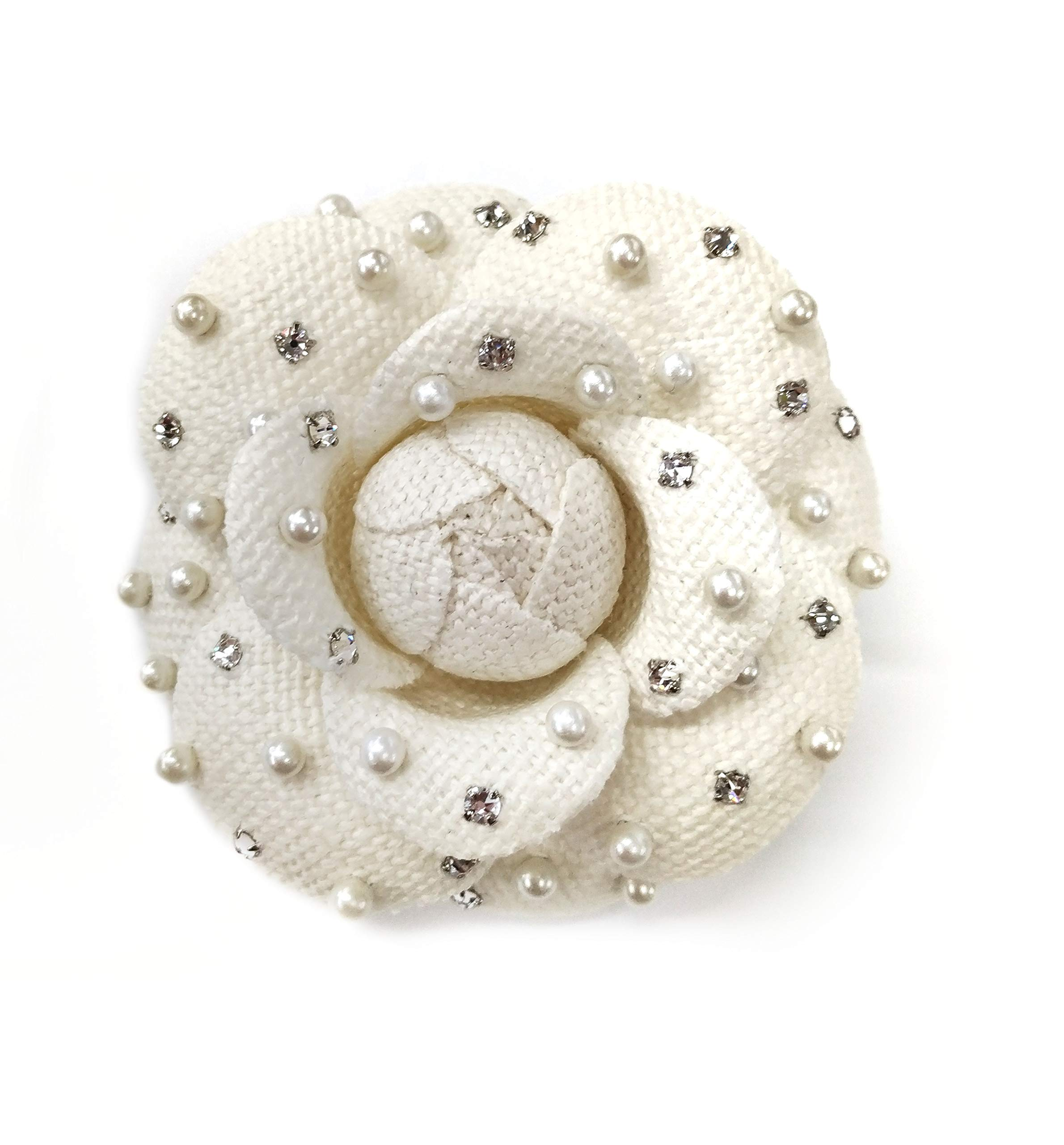 M&S Schmalberg Camellia Pearl and Swarovski Crystal Silk Fabric Flower Pin Brooch - Hand-Made in New York's Garment Center (American Made) (Silk Linen)