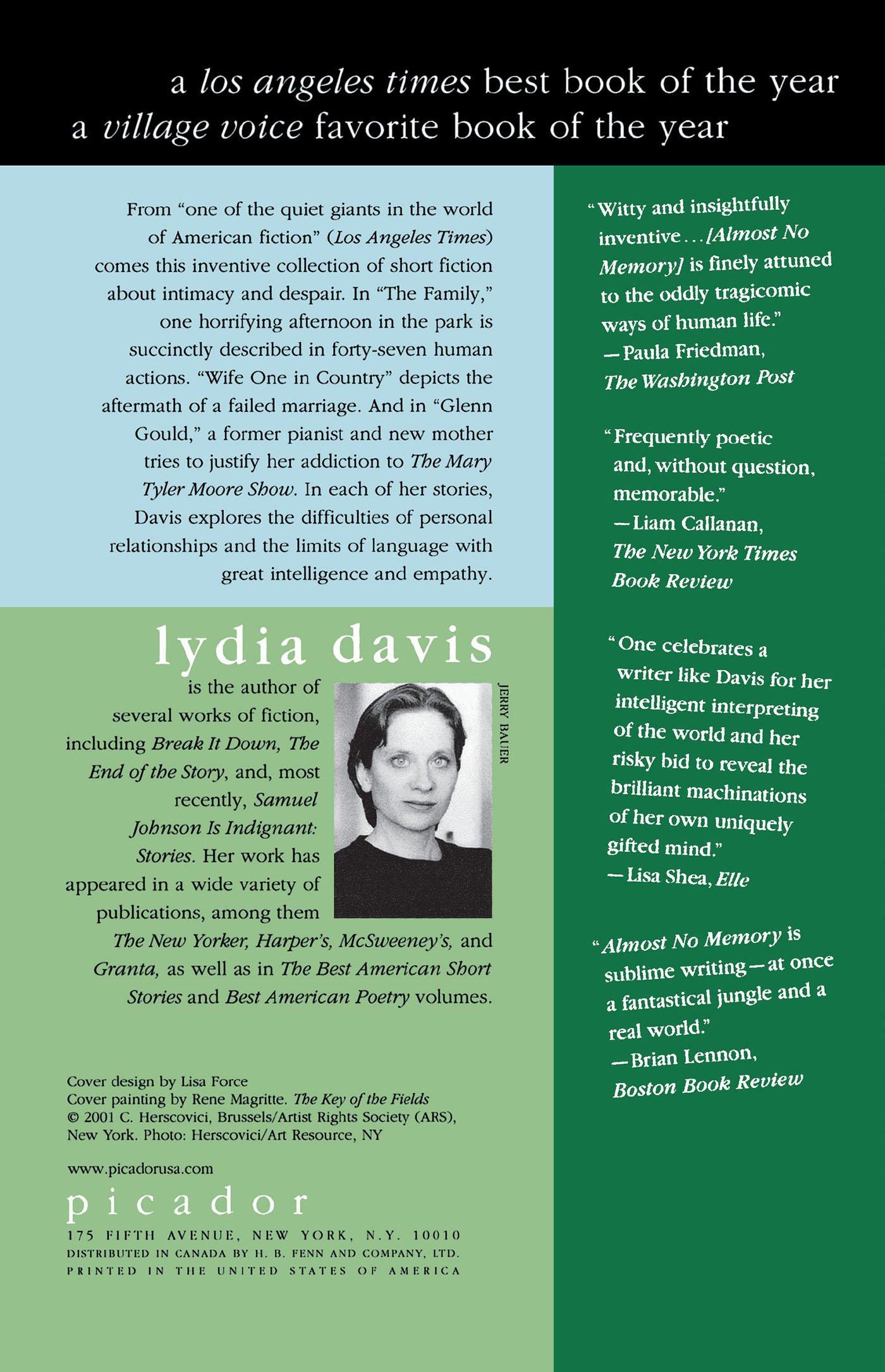 Almost No Memory: Stories: Lydia Davis: 9780312420550: Amazon: Books