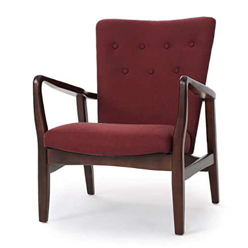 Christopher Knight Home 300386 Suffolk French Style Fabric Arm Chair Deep Red