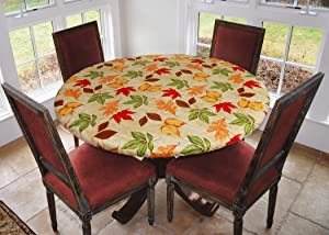 Covers For The Home Deluxe Elastic Edged Flannel Backed Vinyl Fitted Table Cover - All-Over Leaves Pattern - Large Round - Fits Tables up to 45