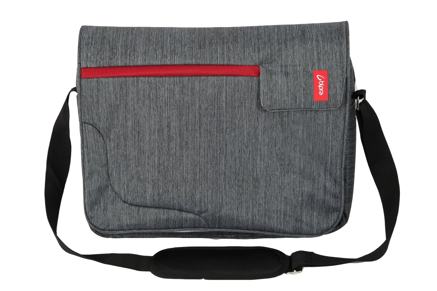 Bipra 15.6 Inch Laptop Messenger Bag Grey With Red Stripe Suitable for 15.6 Inch fits most Devices Netbooks, Laptop Computers, Tablets, ipad (Grey&Red) NTECeaq