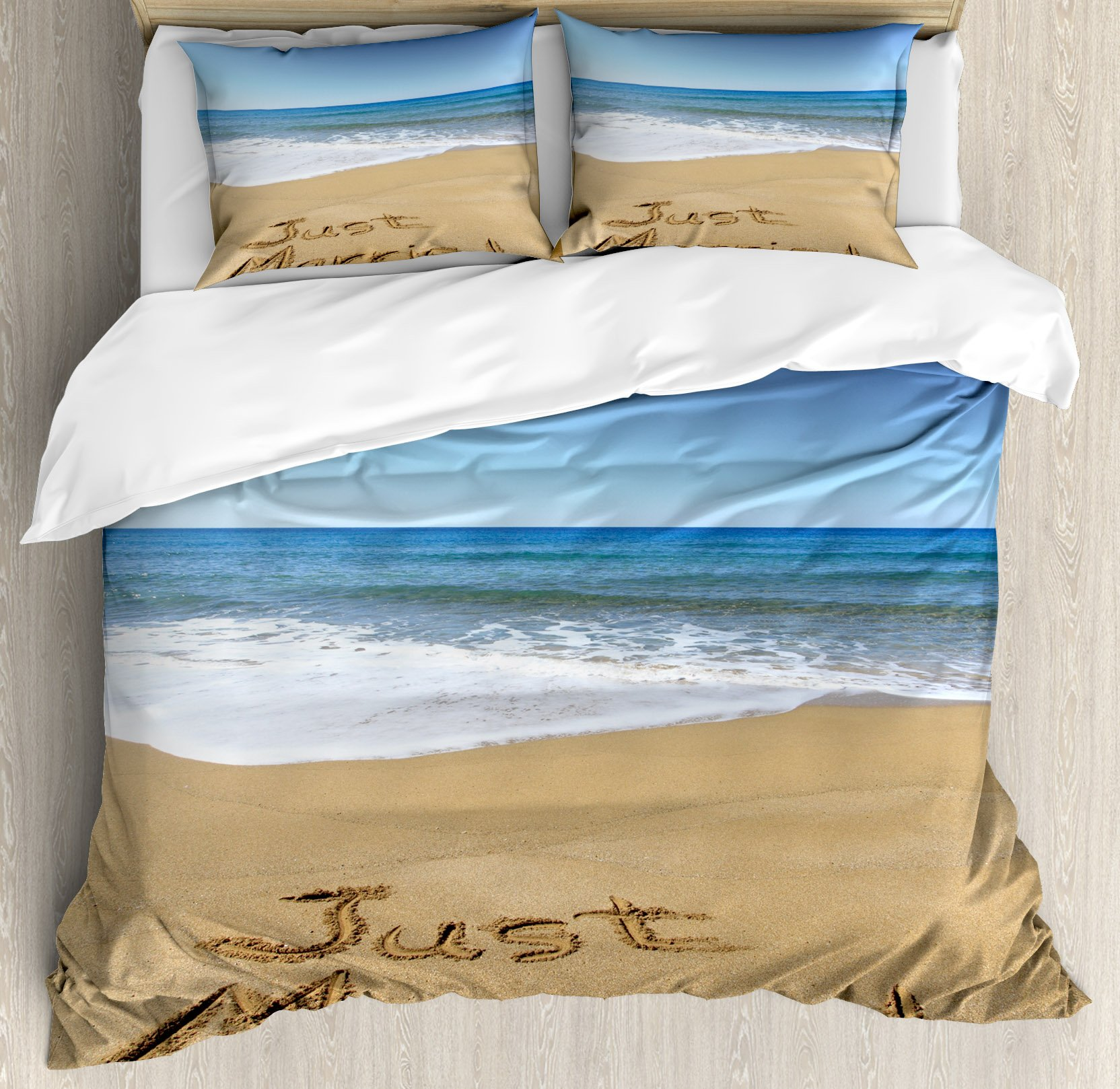 Wedding Decorations Duvet Cover Set by Ambesonne, Just Married Written on Sandy Beach Ocean Waves Romantic Photo, 3 Piece Bedding Set with Pillow Shams, King Size, Blue Brown White by Ambesonne