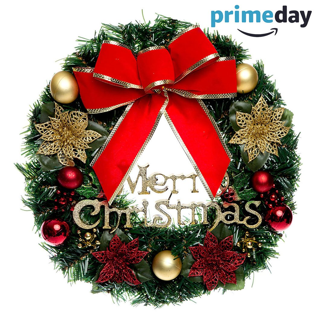 SOMOYA Christmas Wreath with Ribbon and Bells, Indoor Outdoor Christmas Wreaths Garland Ornaments Christmas Decorations (Red Ribbon,12'' x 12'')