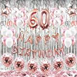 HAPYCITY 60th Birthday Decorations Balloons (55pack)Rose Gold 60 Balloons Number Happy 60 Party Supplies for Her-Perfect…